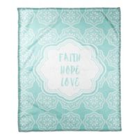 Designs Direct Little Lady Collection Faith Hope Love Blanket in Teal