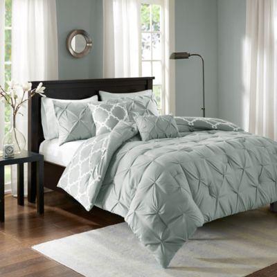 madison park essentials kasey 5piece reversible king comforter set in grey