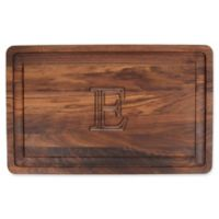 """The Cutting Board Company 24-Inch x 15-Inch Wood Monogram Letter """"E"""" Carving Board in Walnut"""