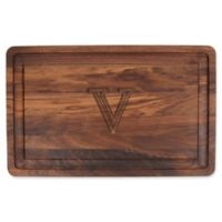 """The Cutting Board Company 24-Inch x 15-Inch Wood Monogram Letter """"V"""" Carving Board in Walnut"""