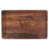 "The Cutting Board Company 24-Inch x 15-Inch Wood Monogram Letter ""W"" Carving Board in Walnut"
