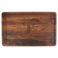 "The Cutting Board Company 24-Inch x 15-Inch Wood Monogram Letter ""T"" Carving Board in Walnut"