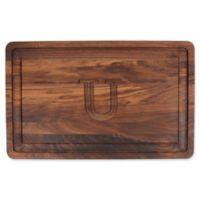 "The Cutting Board Company 24-Inch x 15-Inch Wood Monogram Letter ""U"" Carving Board in Walnut"
