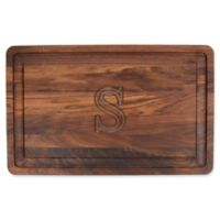 "The Cutting Board Company 24-Inch x 15-Inch Wood Monogram Letter ""S"" Carving Board in Walnut"