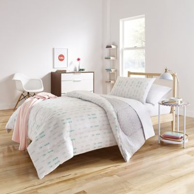 Genial Melina 6 Piece Reversible Twin/Twin XL Comforter Set In White/Grey