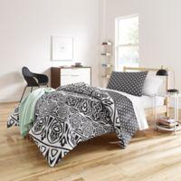 Shembel 7-Piece Reversible Twin/Twin XL Comforter Set in Black/White