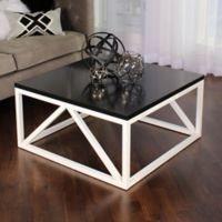 Kate and Laurel Kaya Square Coffee Table in Black/White