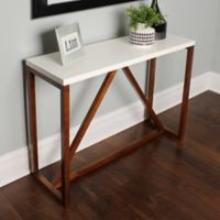Kate and Laurel Kaya Console Table in White/Walnut