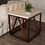 Kate and Laurel Kaya Side Table in White/Walnut