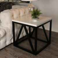 Kate and Laurel Kaya Side Table in White/Black