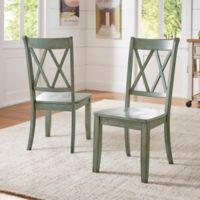 Verona Home Marigold Hill X Back Chairs in Deep Aqua (Set of 2)