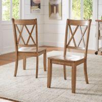 Verona Home Marigold Hill X Back Chairs in Oak (Set of 2)