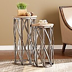 Southern Enterprises Mencino Accent Tables in Antique Silver (Set of 2)