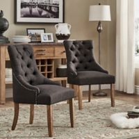 Verona Home Treviso Button-Tufted Dining Chairs in Dark Grey (Set of 2)