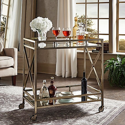 Verona Home Grenshaw Bar Cart In Antique Brass Bed Bath