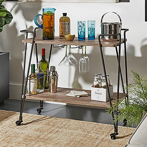Verona Home Gordon Wood Metal Bar Cart In Brown Bed Bath