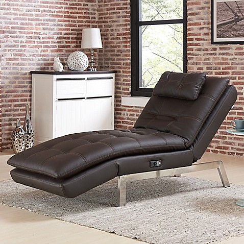modern chaise lounge chairs living room lifestyle solutions vaugn convertible chaise in brown 25885