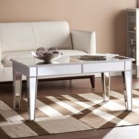 Southern Enterprises Mirage Mirrored Cocktail Table in Silver