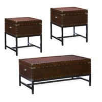 Southern Enterprises Voyager 3-Piece Trunk Table Collection in Espresso