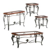 Southern Enterprises Prentice 4-Piece Table Collection in Cherry