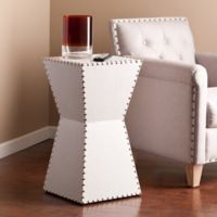 Southern Enterprises Warrington Faux Leather Accent Table in White