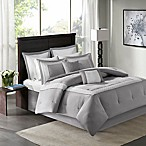 Madison Park Stratford 8-Piece King Comforter Bedding Set with Bedskirt in Grey