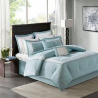 Madison Park Stratford 8-Piece Queen Comforter Set in Aqua