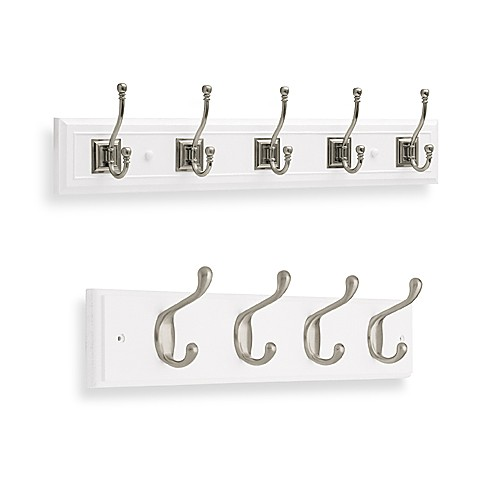 Wall Mount Double Hook Rail In White Bed Bath Amp Beyond