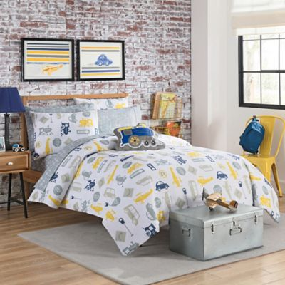 vcny lil traveler 3piece full comforter set in greyyellow