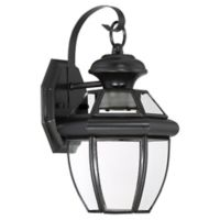 Quoizel Newbury 12.5-Inch LED Outdoor Wall Lantern in Mystic Black with Glass Shade