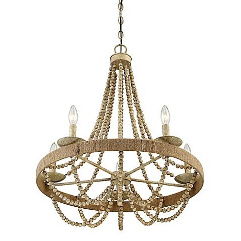 Filament design darla 5 light chandelier in natural wood for Natural wood chandelier