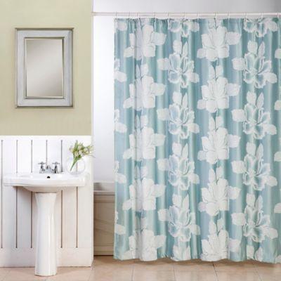 Ellen Tracy Flower Shower Curtain In Blue
