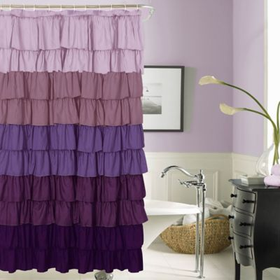 Flamenco Ruffled Shower Curtain In Purple