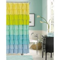 Flamenco Ruffled Shower Curtain In Blue