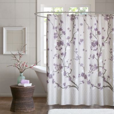 Madison Park Holly 72 Inch Shower Curtain In Purple