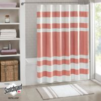 Madison Park Spa Waffle Shower Curtain In Coral