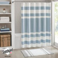 Madison Park Spa Waffle Shower Curtain in Blue