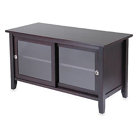 TV Stand with Glass Sliding Doors