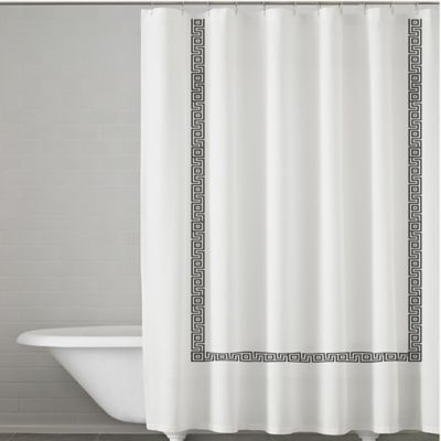Kassatex Greek Key Embroidered Shower Curtain In White/Charcoal