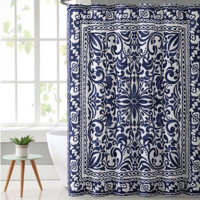 Superieur VCNY Eleanor Shower Curtain In Navy White Buy Curtains From Bed Bath Beyond