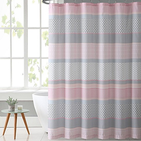 vcny home stockholm shower curtain in pink grey bed bath beyond. Black Bedroom Furniture Sets. Home Design Ideas