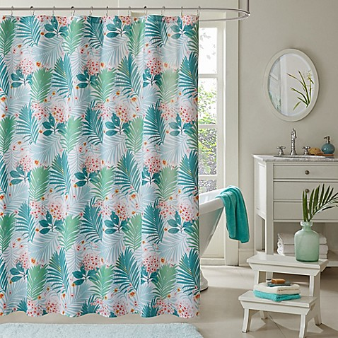 Intelligent design tropicana shower curtain in aqua bed - Intelligent shower ...