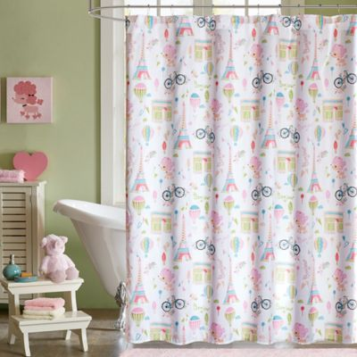 Mi Zone Kids Bonjour Shower Curtain In Pink