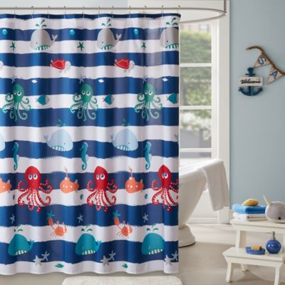 navy and coral shower curtain. Mi Zone Kids Sealife Shower Curtain in Navy Buy Curtains from Bed Bath  Beyond