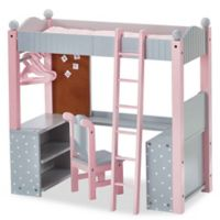 Olivia's Little World Doll Furniture 18-Inch Dots Dorm Double Bunk Desk in Pink/Grey