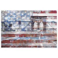 Parvez Taj Patriotic Overlay 36-Inch x 24-Inch Pinewood Wall Art