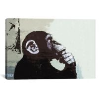 The Thinker Monkey by Banksy 40-Inch x 26-Inch Canvas Wall Art
