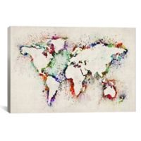 Map of the World Paint Splashes 60-Inch x 40-Inch Canvas Wall Art