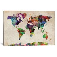 World Map Urban Watercolor II 60-Inch x 40-Inch Canvas Wall Art