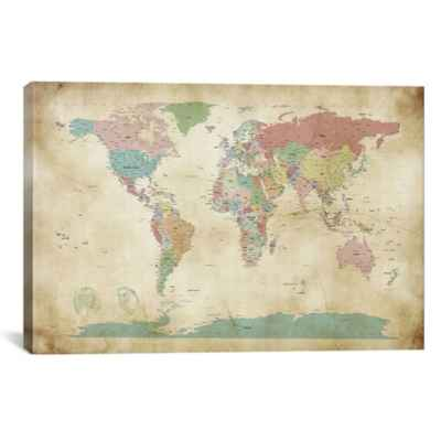 World Cities Map Canvas Wall Art